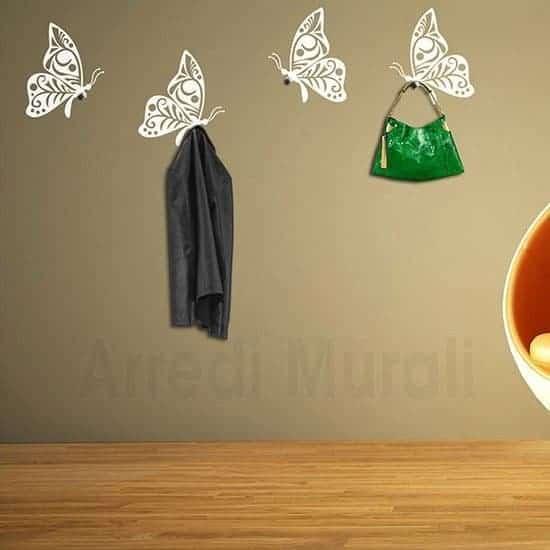 Appendiabiti farfalle adesivi murali bianco
