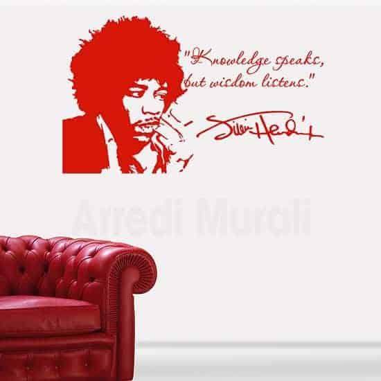 Tattoo da muro Jimi Hendrix il suo ritratto ed una citazione