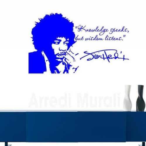 Tattoo da muro Jimi Hendrix con frase e viso blu