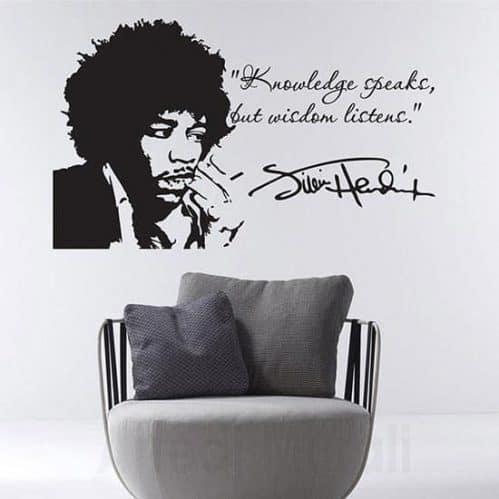 Tattoo da muro Jimi Hendrix volto e frase nero
