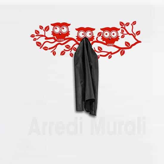 adesivi murali appendiabiti gufi rosso