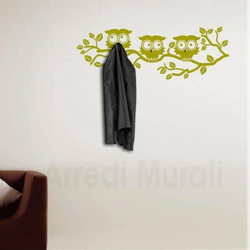 adesivi murali appendiabiti gufi oro