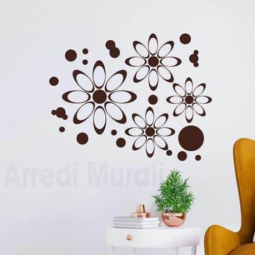 adesivi murali fiori moderni marrone
