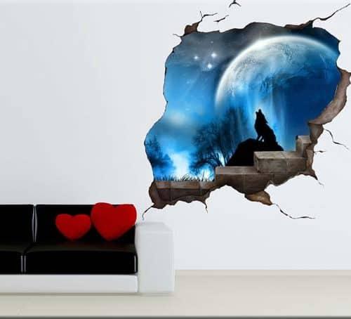 adesivo da parete buco nel muro trompe l'oeil