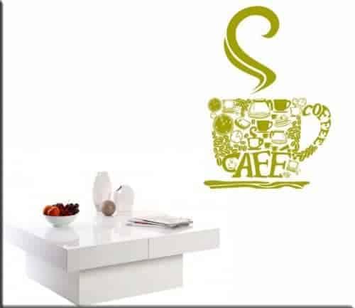 Decorazione adesiva da muro bar tazza di caffè