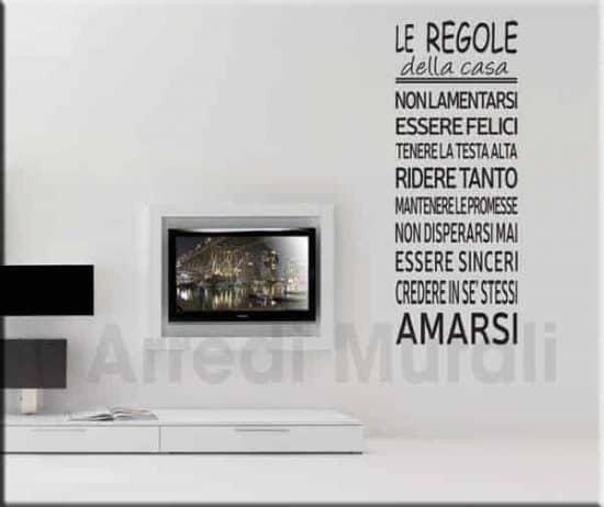 adesivo murale frase regole della casa