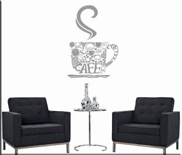 Decorazione adesiva da muro bar tazza di caff arredi murali for Adesivi muro cucina