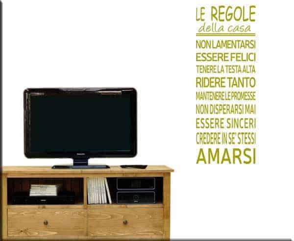 wall sticker frase le regole della casa