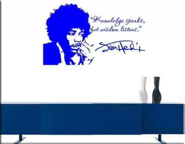 wall sticker frase jimi hendrix musica