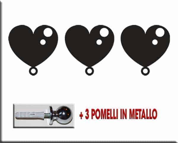 3 cuori wall stickers appendiabiti