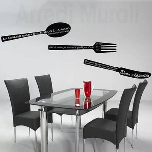 Adesivi murali frasi cucina nero