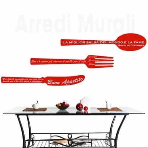 Adesivi murali frasi cucina rosso
