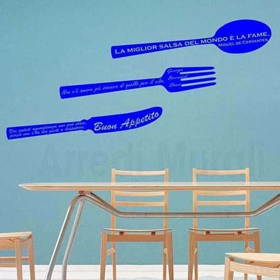 Adesivi murali frasi cucina blu