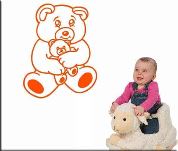 adesivi murali bambini orsacchiotto arancio