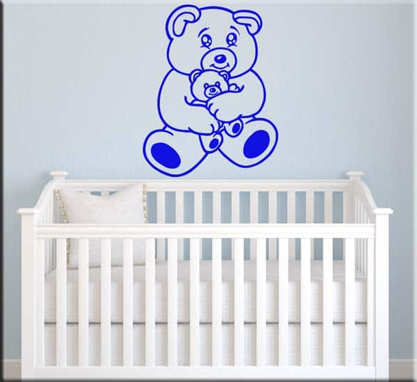 adesivi murali bambini orsacchiotto blu