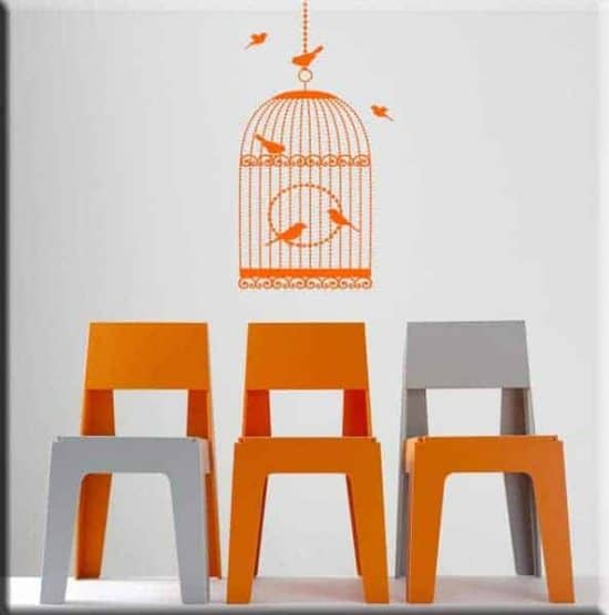 adesivi murali gabbia uccelli
