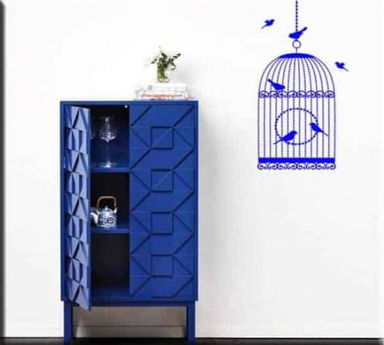 adesivi da parete gabbia uccelli
