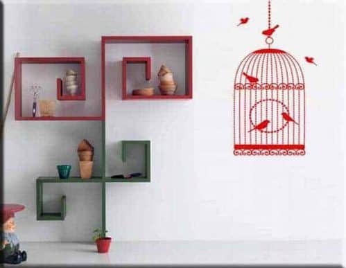 wall stickers gabbia uccelli