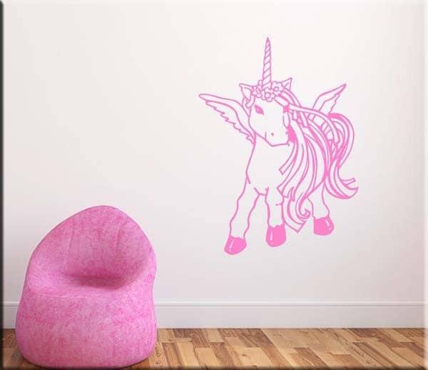 Adesivo Da Muro Cameretta Bambini Unicorno Rosa