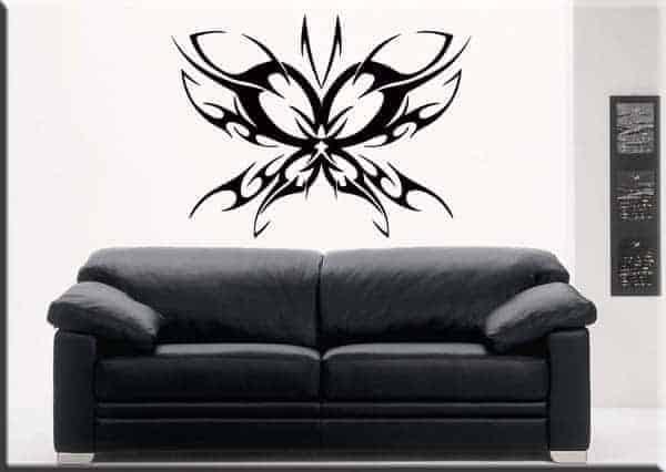 adesivo da muro farfalla tattoo nero