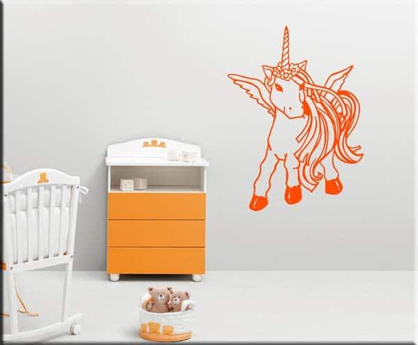 adesivo da parete cameretta bambini unicorno