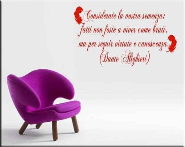 adesivo da parete frase Dante Alighieri