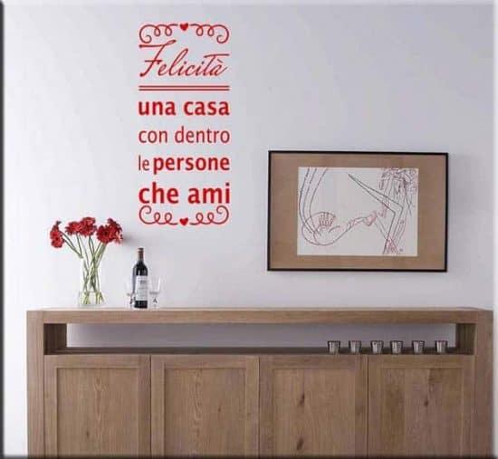 adesivo da parete frase felicità rosso