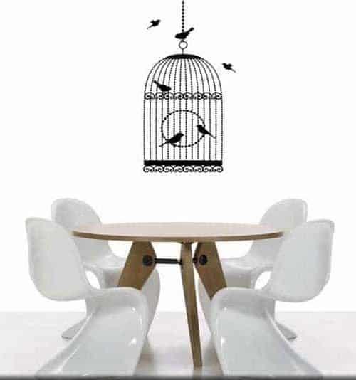 adesivo da parete gabbia uccelli