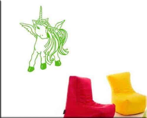decorazioni murali cameretta bambini unicorno verde