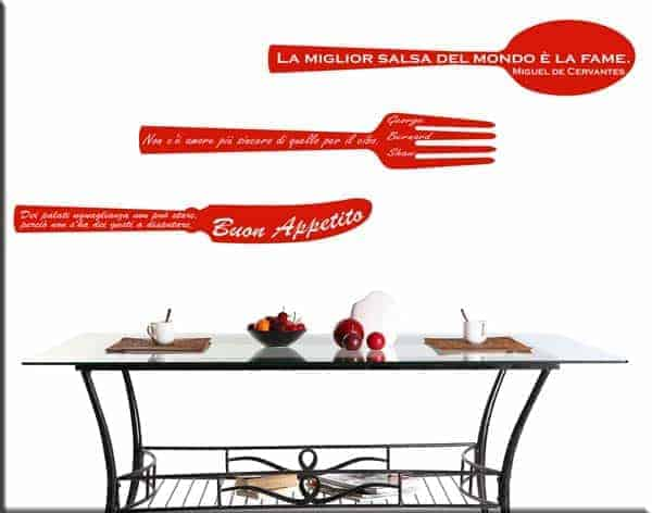 Adesivi murali frasi cucina decorazioni arredi murali - Decorazioni murali per cucina ...