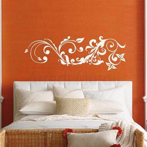 Adesivo murale floreale stilizzato bianco