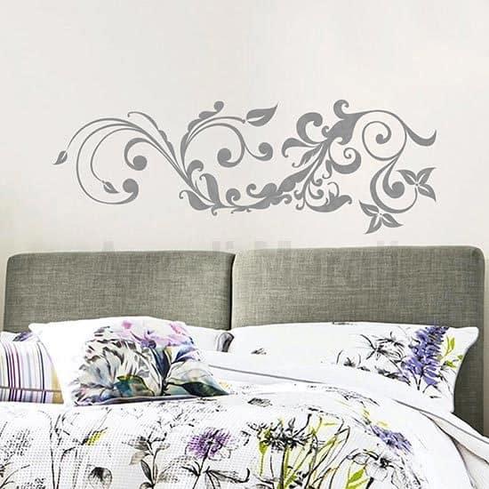 Adesivo murale floreale stilizzato argento