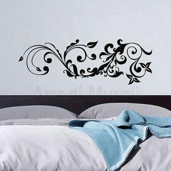 Adesivo murale floreale stilizzato nero