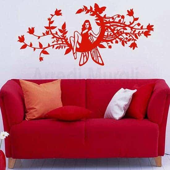 Decorazione adesiva murale fantasy rosso