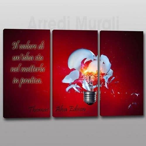 Quadri moderni citazione Edison 3 tele