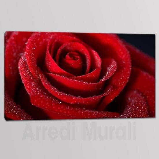 Quadri moderni rosa rossa in 3 tele stampate con rosa rossa e gocce di rugiada elegante e raffinato