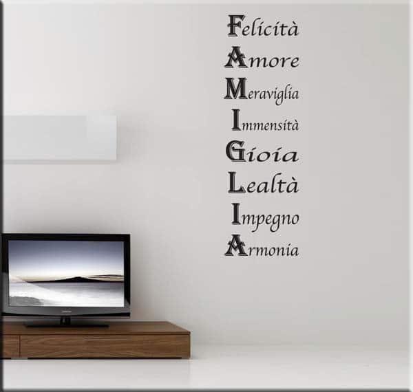Wall sticker frase famiglia - Scritte sulle pareti di casa ...