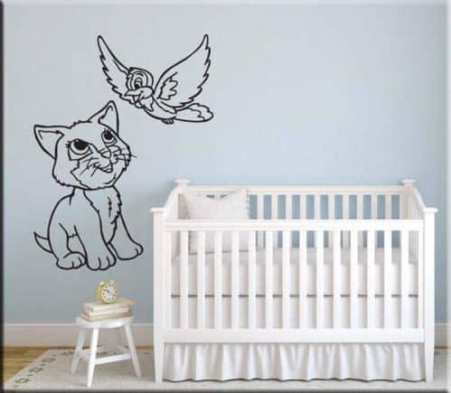 adesivi da parete bambini cameretta gatto