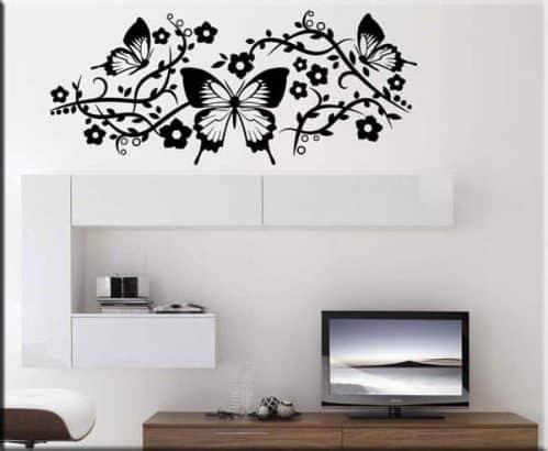 adesivi da parete farfalle e fiori