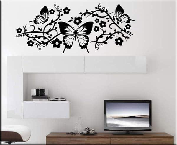 Adesivi murali farfalle fiori decorazioni da parete - Specchi adesivi da parete ...
