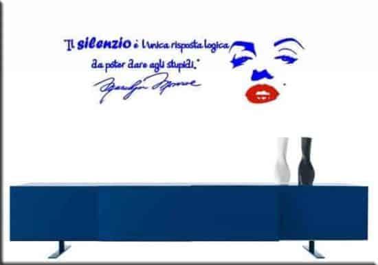 adesivi murali adesivo frasi marilyn monroe blu