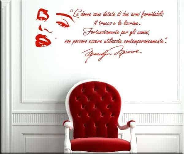 adesivi murali adesivo frasi marilyn monroe rosso