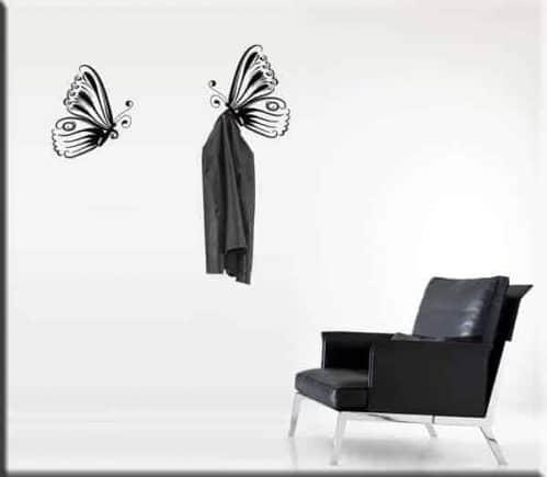 adesivi murali appendiabiti 2 farfalle