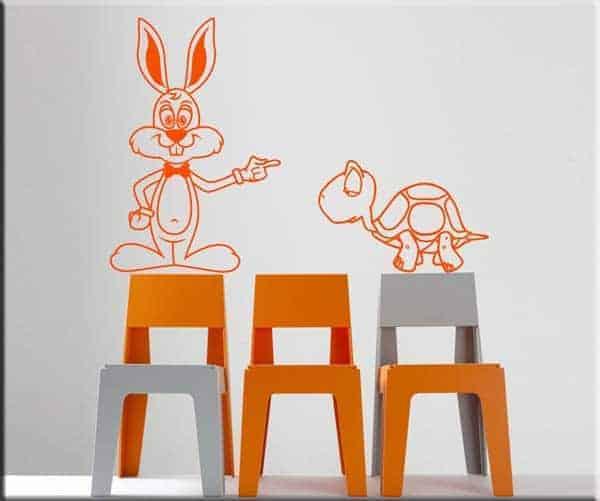 adesivi murali bambini lepre e tartaruga