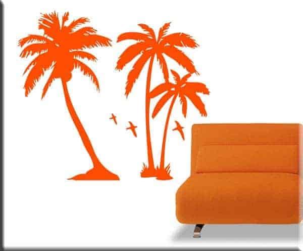 adesivi murali palme arancio