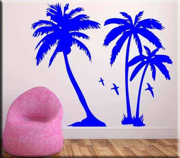 adesivi murali palme blu