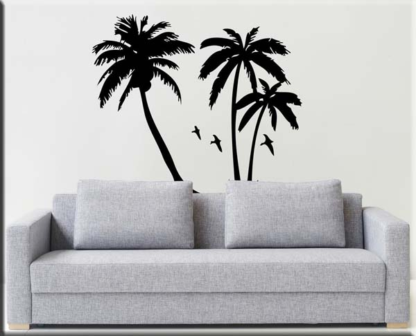 adesivi murali palme nero