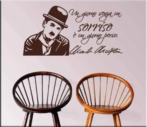 adesivo da muro frase Charlie Chaplin