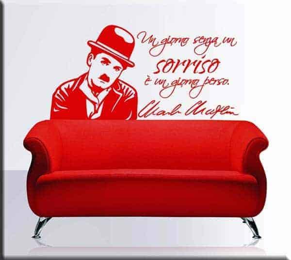 adesivo da parete frase Charlie Chaplin