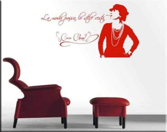 adesivo da parete frase Coco Chanel